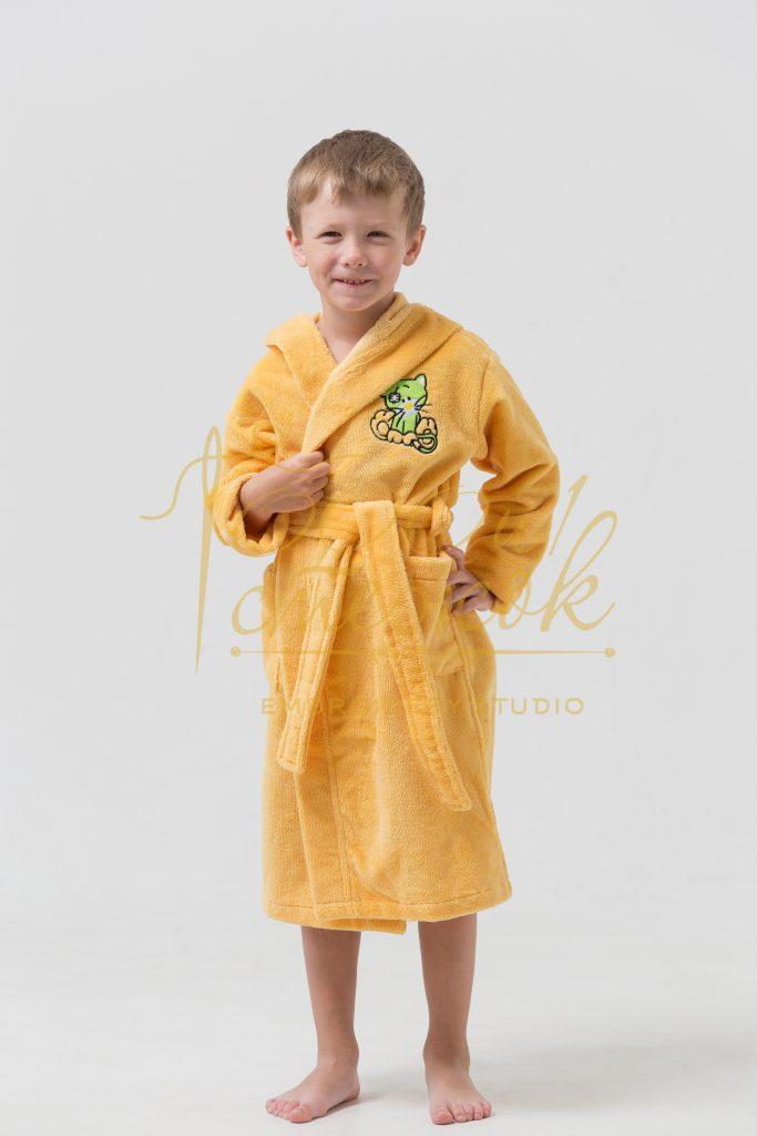 Детский халат с капюшоном «Малыш» категории «Премиум Турция» с именной вышивкой (Желтый)
