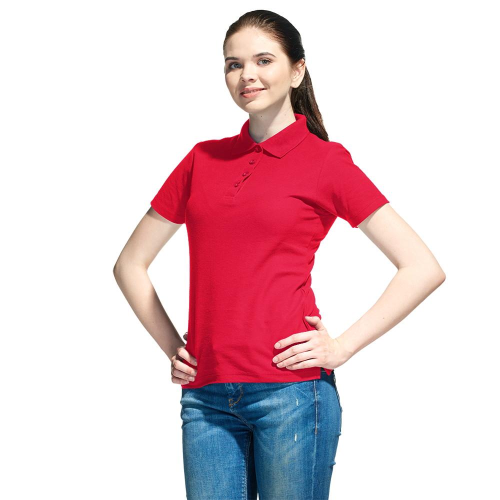 Женская рубашка поло с именной вышивкой (Красный)