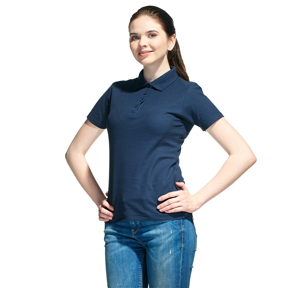Женская рубашка поло с именной вышивкой (Темно-синий)