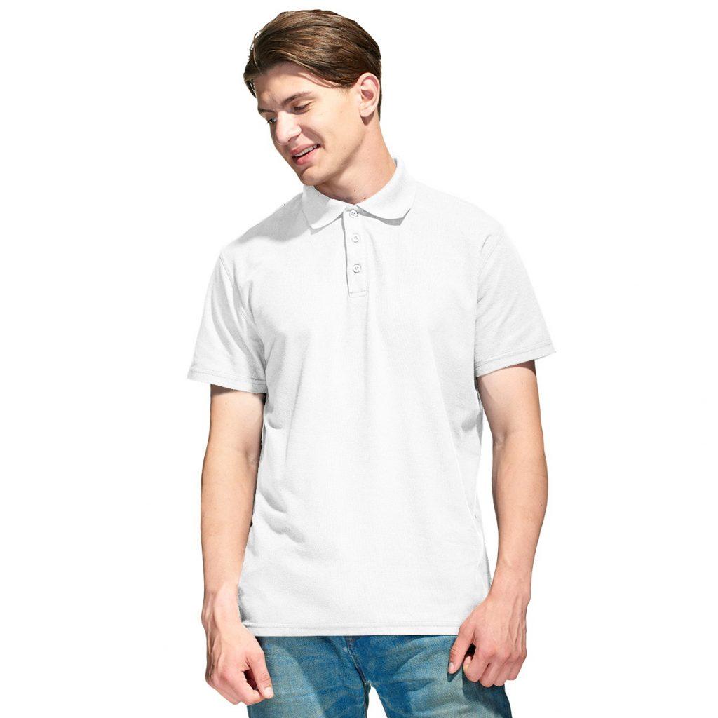 Мужская рубашка поло с именной вышивкой (Белый)